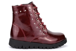 Girls Stud Detail Patent Ankle Boots With Lace And Zip Fastening Burgundy