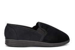 Mens William Quilted Twin Gusset Carpet Slippers Black
