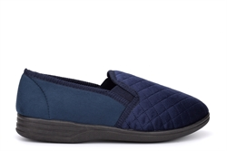 Mens William Quilted Twin Gusset Carpet Slippers Navy