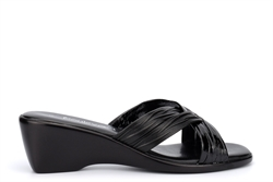 Boulevard Womens Cross Over Mule Sandals With Wedge Heels Black