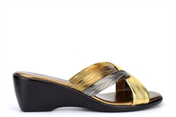 Boulevard Womens Cross Over Mule Sandals With Wedge Heels Bronze/Pewter/Gold