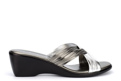 Boulevard Womens Cross Over Mule Sandals With Wedge Heels Pewter/Silver
