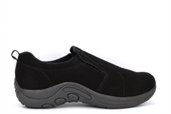PDQ Mens Ryno Twin Gusset Slip On Real Suede Casual Shoes Black