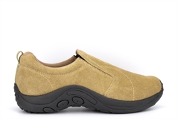 PDQ Mens Ryno Twin Gusset Slip On Real Suede Casual Shoes Taupe