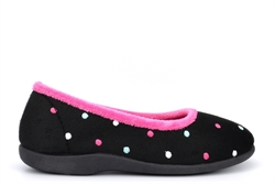 Sleepers Womens Isla Memory Foam Dotted Ballerina Slippers Black/Fuchsia