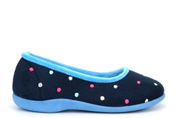 Sleepers Womens Isla Memory Foam Dotted Ballerina Slippers Blue/Turquoise