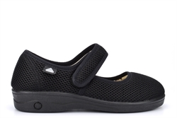 Celia Ruiz Womens Washable Dual Fitting Extra Wide Shoes Black With Cotton Lining (EEE Fitting)