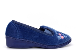 Sleepers Womens Gina Embroidered Full Gusset Memory Foam Slippers Blue