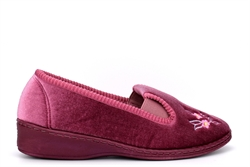 Sleepers Womens Gina Embroidered Full Gusset Memory Foam Slippers Heather