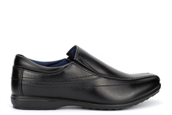 US Brass Mens Stud Twin Gusset Low Profile Slip On Shoes Black