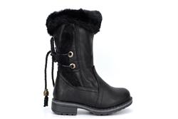 Girls Faux Fur Collar Mid Calf Cowboy Boots Black