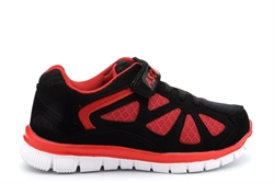Ascot Boys Eagle Touch Fastening Lightweight Trainers Black/Red