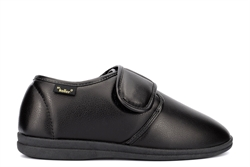 Dr Keller Mens Wide Fit Touch Fastening Slippers With Faux Leather Upper Black