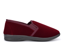 Zedzzz Mens Twin Gusset Slip On Slippers With Soft Velour Upper Wine