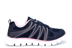 Dek Womens Mazey Superlight Memory Foam Lace Up Trainers Navy/Pink
