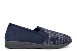 Zedzzz Mens Harley Check Textile Twin Gusset Slip On Slippers Navy Blue