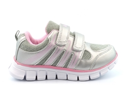 Dek Girls Touch Fastening Super Lightweight Jogger Trainers Silver/Pink