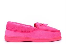 Jyoti Womens Riva Fleecy Bow Slip On Slippers Fuchsia