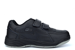 Dek Mens Arizona Wide Fit Touch Fastening Coated Leather Trainers Black (E Fitting)