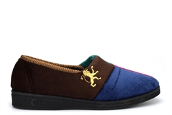 Comfylux Mens Harlequin Slip On Lion Motif Carpet Slippers With Sponge Rubber Sole Multi Coloured