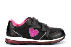 Renda Girls Touch Fastening Heart Trainers Black