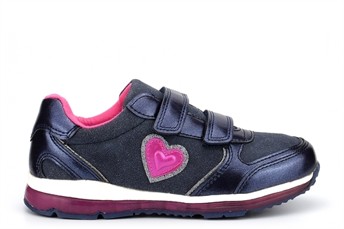 Renda Girls Touch Fastening Heart Trainers Navy Blue