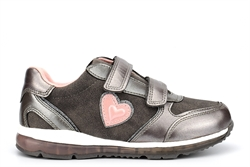 Renda Girls Touch Fastening Heart Trainers Silver