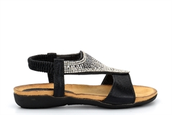 Chix Girls Shimmer Diamante Sandals With Comfort Insole Black