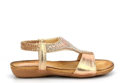 Chix Girls Shimmer Diamante Sandals With Comfort Insole Rose Gold