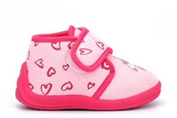 Girls Unicorn Touch Fastening Slippers With Heart Print On Upper Pink/Fuchsia