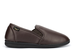 Dr Keller Mens Faux Leather Carpet Slippers With Fleecy Lining Brown