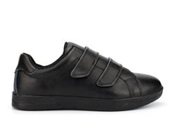 Jo & Joe Womens Gina Touch Fastening Machine Washable Leather Shoes With Memory Foam Insole Black
