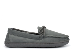 Response Mens Ultra Lightweight Moccasin Slippers With Cotton Lining Grey