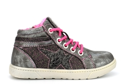 Funky Girls Star High Top Glitter Trainers Silver