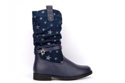 Blue Queen Girls Lightweight Star Mid Calf Boots Navy