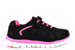 Ascot Girls Lightweight Elasticated Lace Touch Fastening Trainers Black/Pink