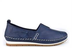 Mod Comfys Womens Softie Leather Slip On Casual Shoes With Comfort Insole And Rubber Sole Navy Blue