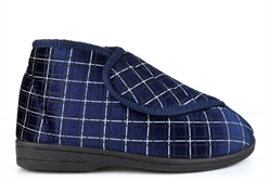 Zedzzz Mens Bertie Touch Fastening Washable Bootee Slippers With Rubber Sole Navy Blue Check