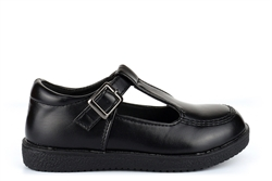 Wild Tribe Girls Scamp T-Bar School Shoes With Buckle Fastening Black