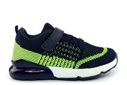 Urban Jacks Boys Bertie Touch Fastening Trainers With Elasticated Lace Navy/Lime