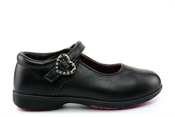 BXT Girls Diamante Heart Touch Fastening School Shoes With Padded Insole