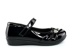 US Brass Girls Touch Fasten School Shoes With Diamante Heart Detail Patent Black