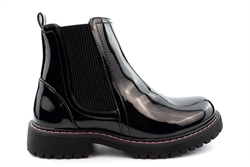 Cipriata Girls Adele Zip Fastening Ankle Boots Patent Black