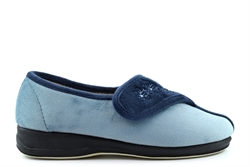 Sleepers Womens Gemma Memory Foam Embroidered Touch Fastening Slippers Navy/Blue
