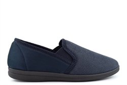 Sleepers Mens Synthetic Suede Memory Foam Carpet Slippers Navy Blue