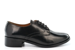 Grafters Womens Hi-Shine Leather Cadet Shoes With Low Block Heel Black