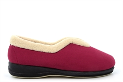 Sleepers Womens Olivia V-Throat Memory Foam Slip On Slippers With Rubber Sole Wine