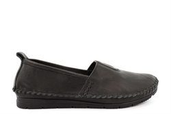 Mod Comfys Womens Softie Leather Slip On Casual Shoes With Comfort Insole And Rubber Sole Black