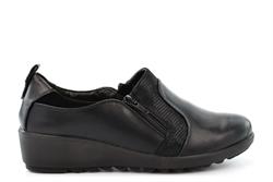 Boulevard Womens Twin Zip Lightweight Casual Shoes With Low Wedge Heel Black