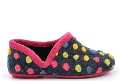 Sleepers Womens Jade Knitted Textile Lightweight Dotted Full Slippers With Rubber Sole Fuchsia